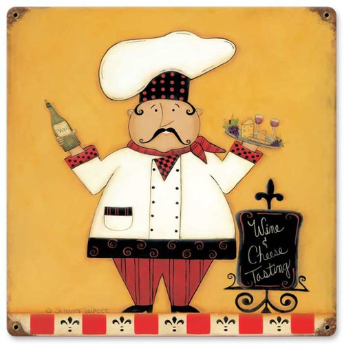 Retro Wine Cheese Metal Sign 18 x 18 Inches