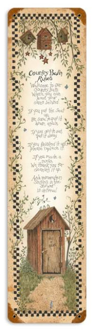 Vintage Country Bath Rules Metal Sign