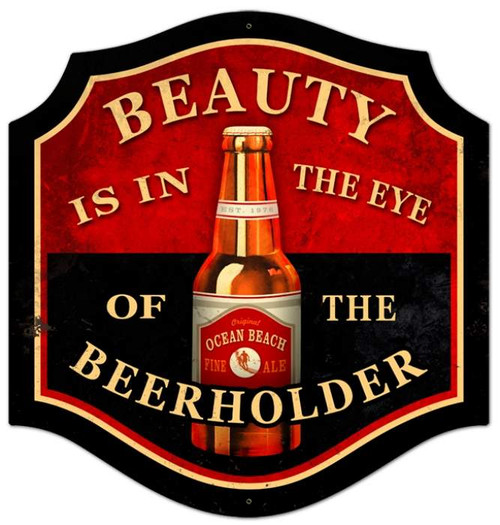 Retro Beauty Beer Holder Metal Sign 20x20 Inches