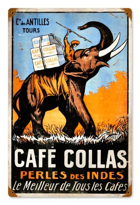 Vintage Cafe Collas Metal Sign 12 x 18 Inches