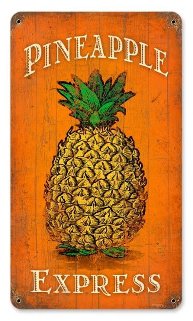 Vintage Pineapple Express Metal Sign 8 x 14 Inches