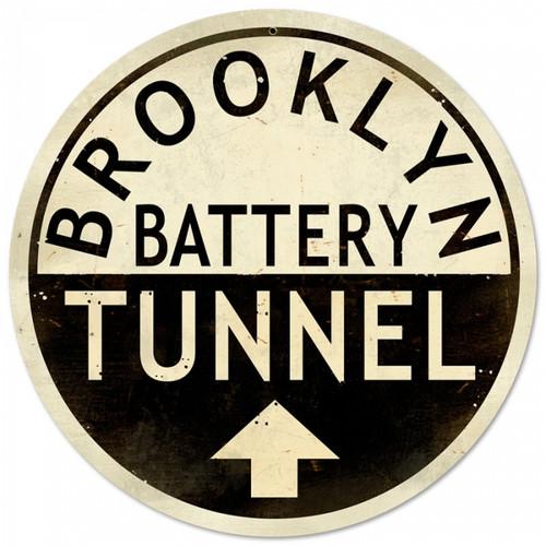 Retro Brooklyn Tunnel Metal Sign 14 x 14 Inches