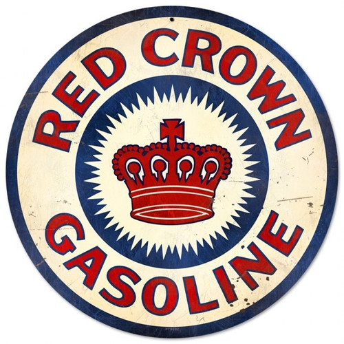 Retro Red Crown Gasoline Round Metal Sign 14 x 14 Inches