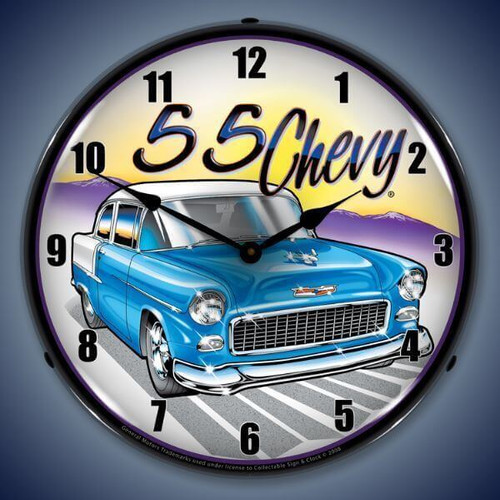 Retro  1955 Chevy Lighted Wall Clock 14 x 14 Inches