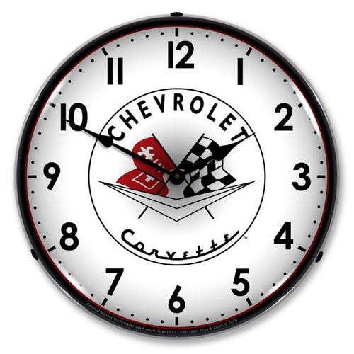 Vintage-Retro  1956-57 Corvette logo Lighted Wall Clock