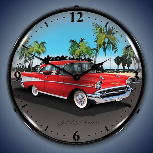 Retro  1957 Chevy Lighted Wall Clock 14 x 14 Inches