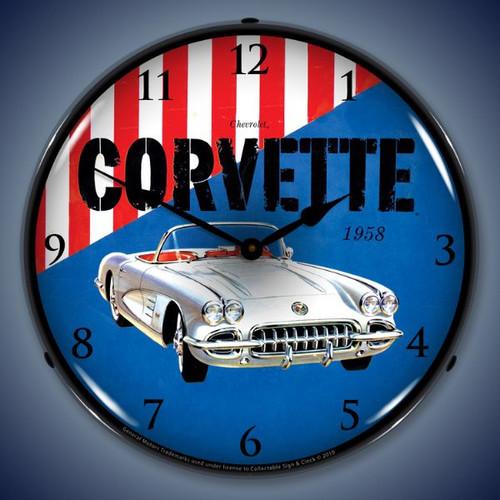 Retro  1958 Corvette Lighted Wall Clock 14 x 14 Inches