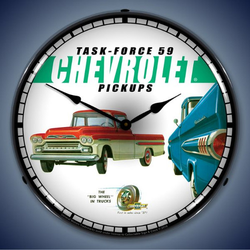 Retro  1959 Chevrolet Pickup Lighted Wall Clock 14 x 14 Inches