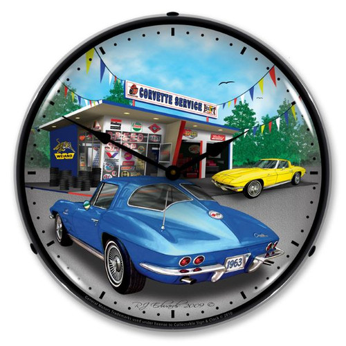 1963 Corvette Lighted Wall Clock