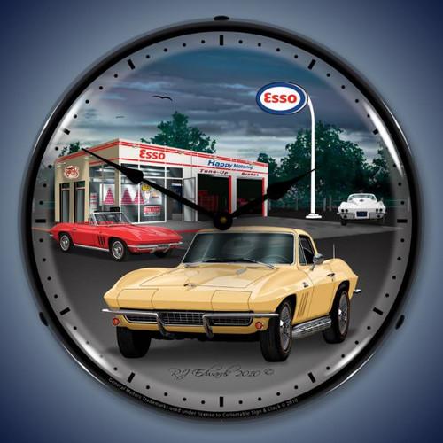 Retro  1965 Corvette Lighted Wall Clock 14 x 14 Inches
