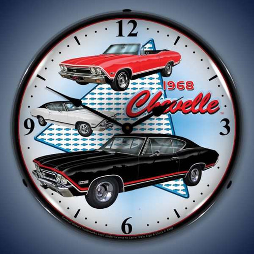 Retro  1968 Chevelle Lighted Wall Clock 14 x 14 Inches
