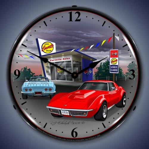 Retro  1968 Corvette Lighted Wall Clock 14 x 14 Inches