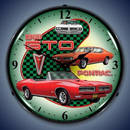 Retro  1968 Pontiac GTO Lighted Wall Clock 14 x 14 Inches