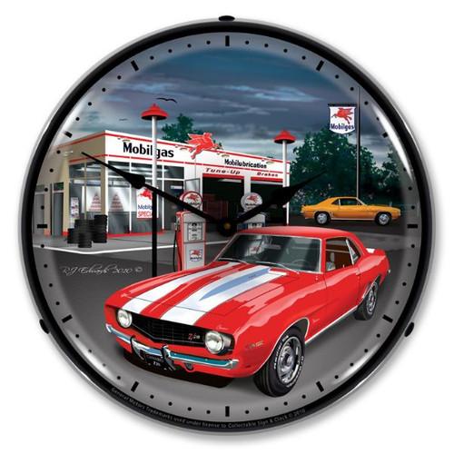 1969 Camaro Mobilgas Lighted Wall Clock