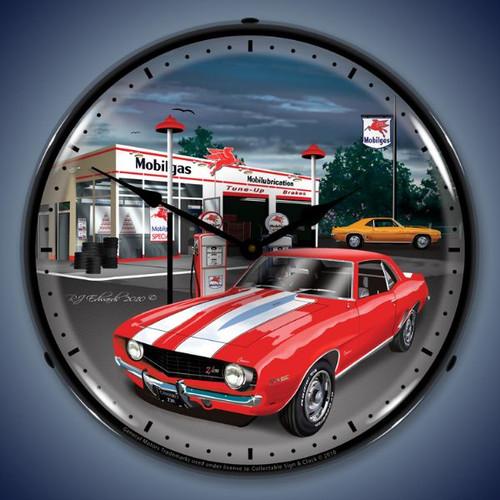 Retro  1969 Camaro Mobilgas Lighted Wall Clock 14 x 14 Inches