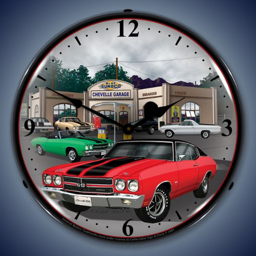 Retro  1970 Chevelle Lighted Wall Clock 14 x 14 Inches