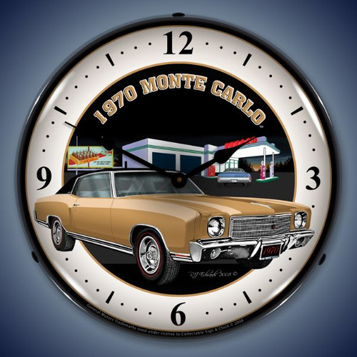 Retro  1970 Monte Carlo Lighted Wall Clock 14 x 14 Inches