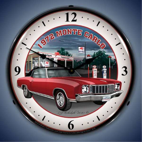 Retro  1972 Monte Carlo Lighted Wall Clock  14 x 14 Inches
