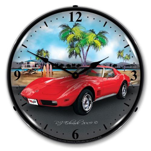 1973 Corvette Lighted Wall Clock