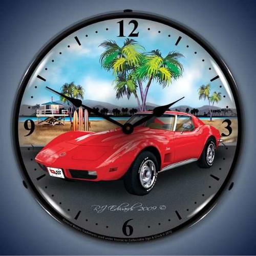 Retro  1973 Corvette Lighted Wall Clock 14 x 14 Inches