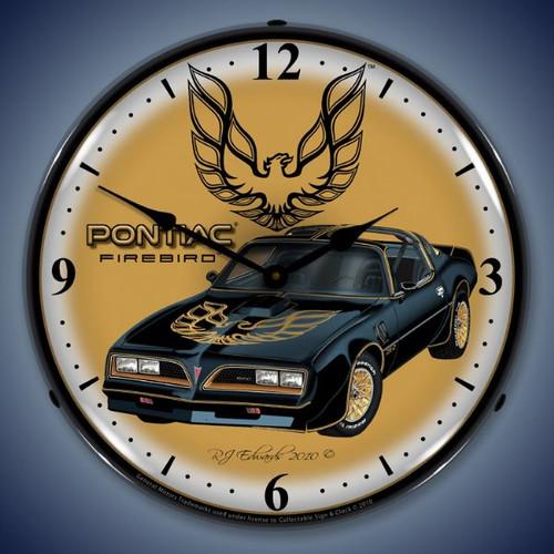 Retro  1977 Pontiac Firebird Lighted Wall Clock 14 x 14 Inches