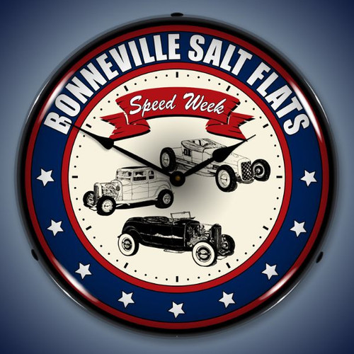 Retro  Bonneville Speed Week Lighted Wall Clock 14 x 14 Inches