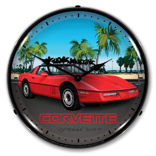C4 Red Corvette Lighted Wall Clock