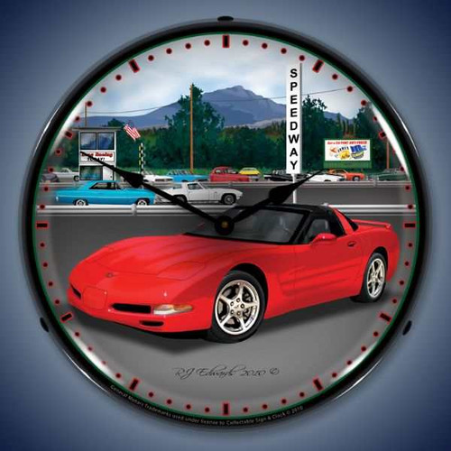 Retro  C5   Raceway Lighted Wall Clock 14 x 14 Inches