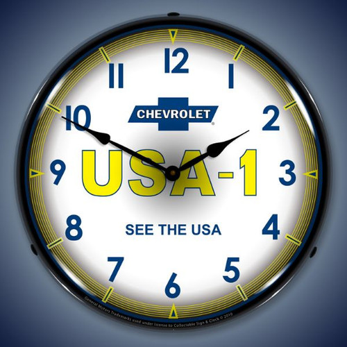 Retro  Chevrolet   USA1 Lighted Wall Clock 14 x 14 Inches