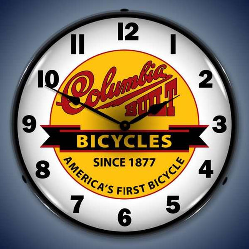 Retro  Columbia Bikes Lighted Wall Clock 14 x 14 Inches