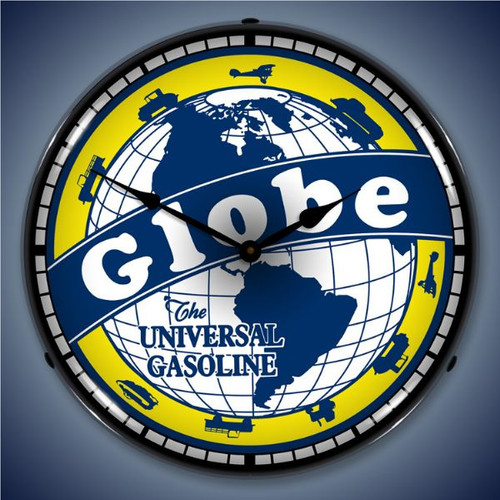 Retro  Globe Gas Lighted Wall Clock 14 x 14 Inches