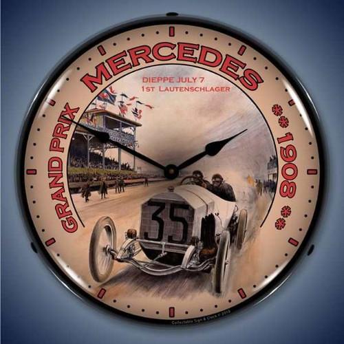 Retro  Grand Prix Mercedes Lighted Wall Clock 14 x 14 Inches