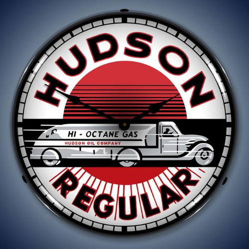 Retro  Hudson Gas Lighted Wall Clock 14 x 14 Inches