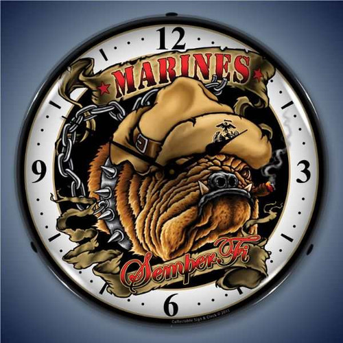 Retro  Marine Bulldog Lighted Wall Clock 14 x 14 Inches