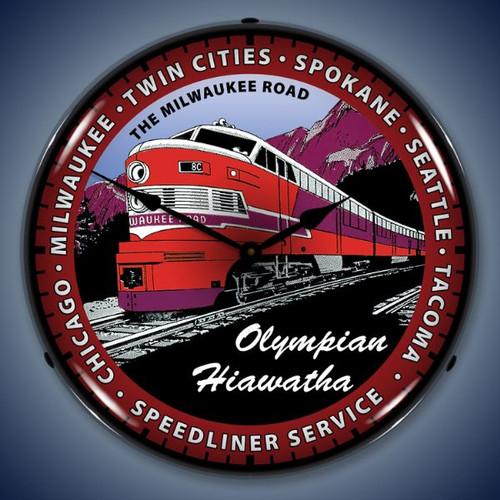 Retro  Olympian Hiawatha Train Lighted Wall Clock 14 x 14 Inches