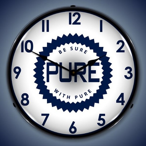 Retro  Pure Oil Lighted Wall Clock 14 x 14 Inches