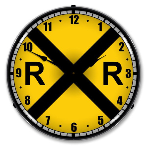 Railroad Crossing Lighted Wall Clock