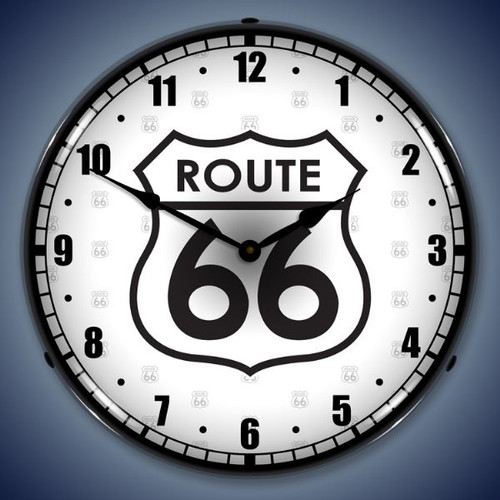 Retro  Route 66 Lighted Wall Clock 14 x 14 Inches