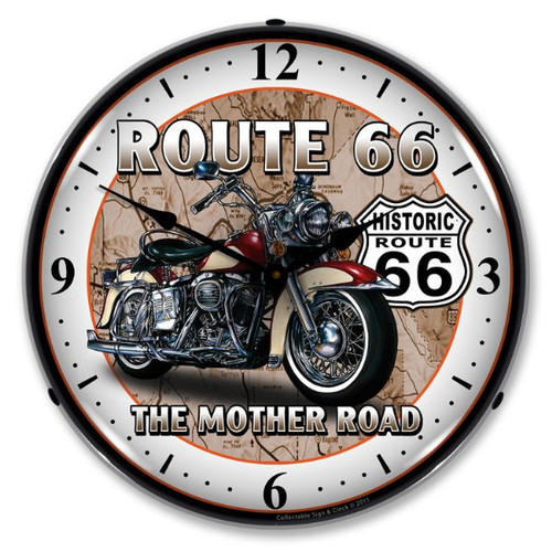 Route 66 Bike Lighted Wall Clock