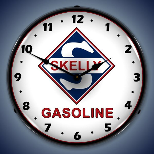 Retro  Skelly Gas Lighted Wall Clock 14 x 14 Inches