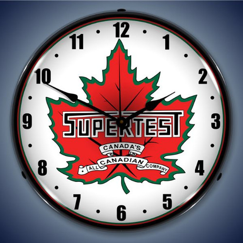 Retro  Super Test Lighted Wall Clock 14 x 14 Inches