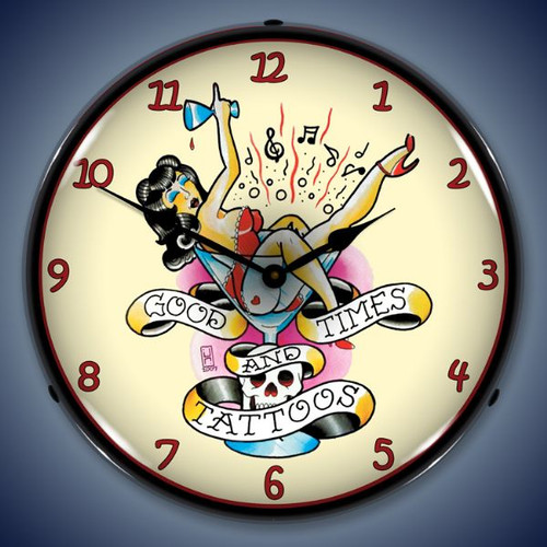 Retro  Tattoo Girl in Glass Lighted Wall Clock 14 x 14 Inches