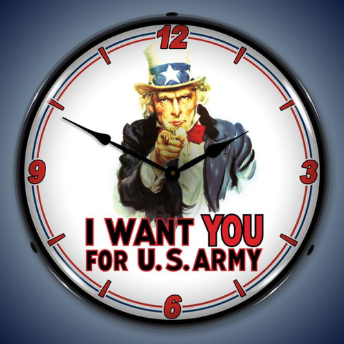 Retro  Uncle Sam Lighted Wall Clock 14 x 14 Inches
