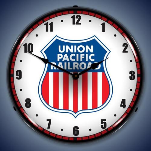 Retro  Union Pacific Railroad Lighted Wall Clock 14 x 14 Inches