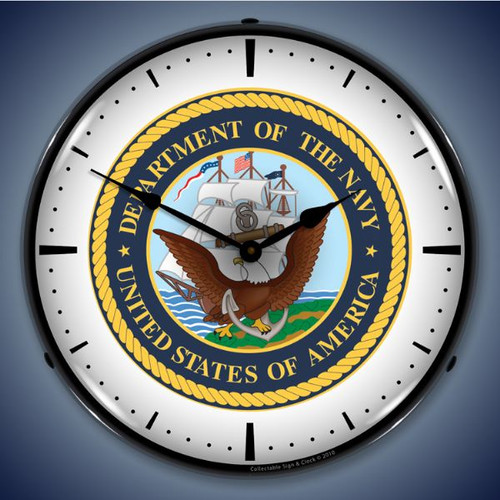 Retro  US Navy Lighted Wall Clock 14 x 14 Inches