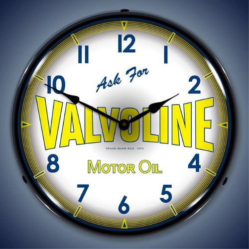 Retro  Valvoline Motor Oil Lighted Wall Clock 14 x 14 Inches