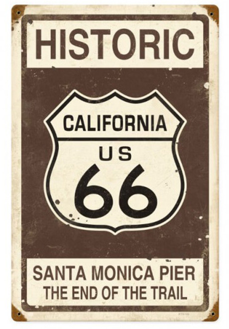 Vintage Historic Route 66 Metal Sign 12 x 18 Inches