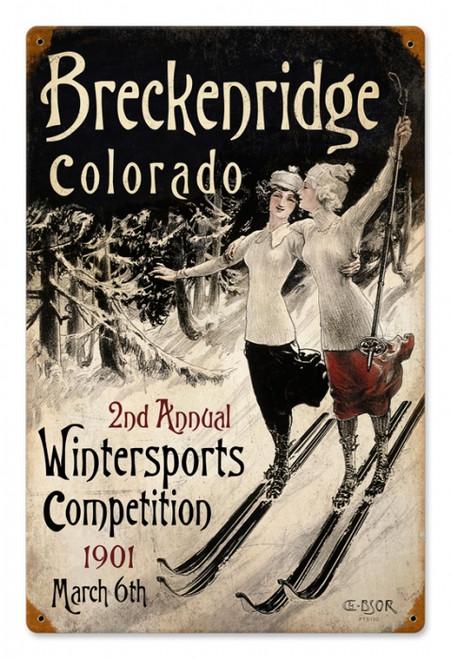 Vintage Ski Breckenridge Metal Sign 12 x 18 Inches