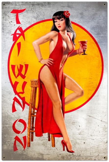 Retro Tai Wun On  - Pin-Up Girl Metal Sign 24 x 36 inches