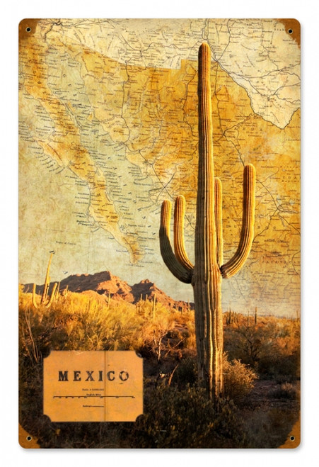 Vintage Mexico Map Metal Sign 12 x 18 Inches